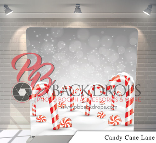 Single-sided Pillow Cover Backdrop  (Candy Cane Lane)