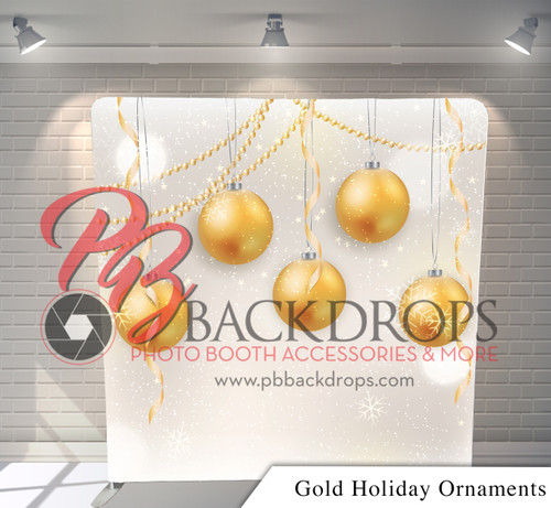 Single-sided Pillow Cover Backdrop  (Gold Holiday Ornaments)