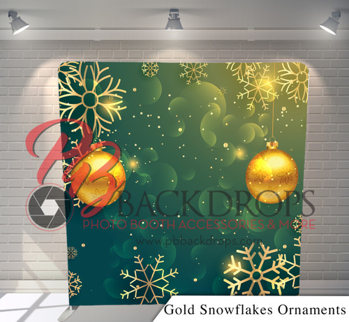 Single-sided Pillow Cover Backdrop  (Gold Snowflakes Ornaments)
