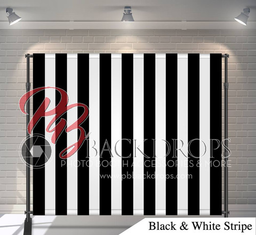 8x8 Printed Tension fabric backdrop (Black and White Stripes)