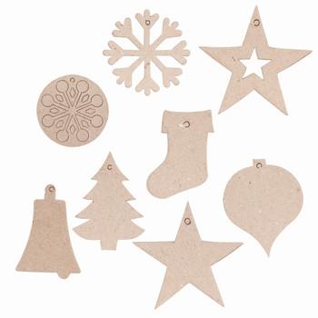 Papier Mache Christmas Decorations - Pack of 80