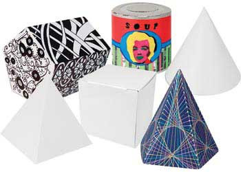 3D Geometric Shapes Cardboard Boxes – Pack of 30