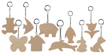 Wooden Key Ring Tags - Pack of 10
