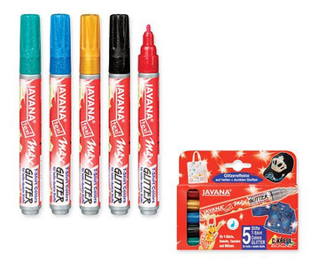 Fabric Markers - Glitter (Pack of 5)