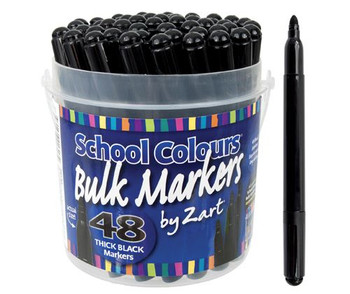 School Colours - Markers Black (Tub of 48)
