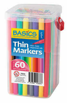 Thin Markers - Assorted (Tub of 60)