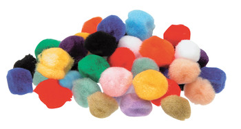 Assorted coloured pom poms ideal for craft work. 25mm diameter. Pack of 100. Assorted colours.