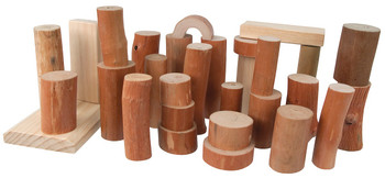 Barkless Wooden Log Blocks – 27 pieces