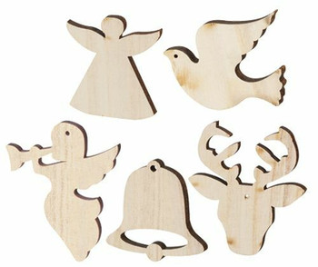 Wooden Christmas Shapes Large - Pack of 30