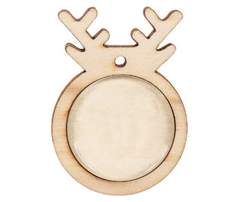Wooden Reindeer Pendants with Cabochon - Pack of 10