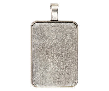 Pendant Cabochon Rectangle Setting Silver - Pack of 30