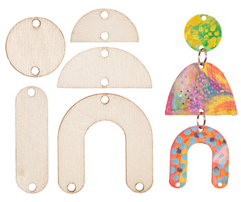 Wooden Earring Drop Pieces - Pack of 90