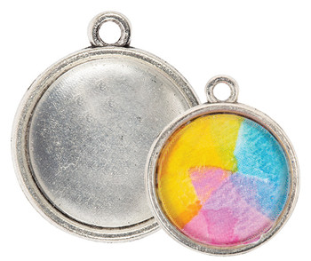 Earring Pendant Cabochon Setting - Silver (Pack of 30)