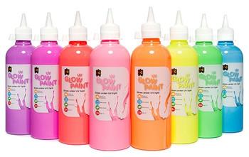 UV Glow Paint 500ml-  Set of 8
