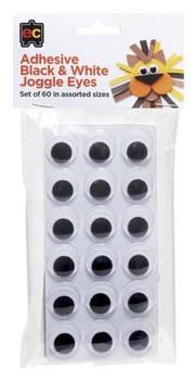 Adhesive Black & White Joggle Eyes - Set of 60