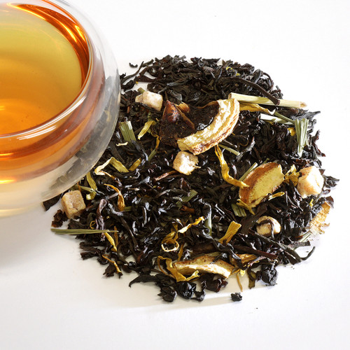 Lemon Pineapple Black Loose Leaf Tea This is our new summertime blend that is filled with dried lemongrass, pineapple and lime. Drink it hot or over ice.