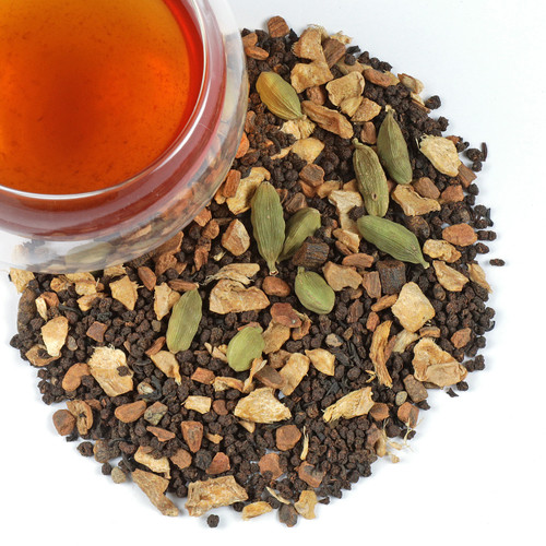 """Our Masala Chai tea blend combines a premium black tea with cinnamon, ginger, cardamom, vanilla. One of the favorite drinks among indians especially during the monsoon  and cold winters, keeping the body warm and breaking up blocked sinuses. In Indian culture, """"Masala"""" means """" a blend of spices."""" Our interpretation tries to stay true to its definition thanks to a warm and inviting fragrance, zesty flavor (without being too hot or spicy) and invigorating, aromatic finish."""