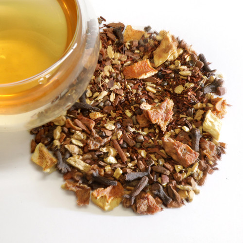 Rooibos Vanilla Chai Loose Leaf Tea This blend of rooibos vanilla, ginger, cardamom, cloves, and cinnamon pieces will dance on your palate and sing to your soul. Beautiful clear and bright cup, with a crisp and tangy-sweet flavor. The heat of the spices is balanced beautifully with the natural smooth, mellow quality of the rooibos. Naturally caffeine free for an anytime treat. We suggest two heaping teaspoons per 6 oz cup. Sugar, cream or soy if desired.