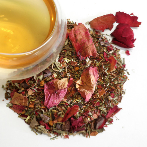 Love Organic Wellness Herbal Tea (Bee pollen, cacao, chicory, cinnamon, clove, damiana, greenbush, honey flavor, passionflower, rooibos, rose petals, vanilla extract) Love! It's all you need! This is a mild aphrodisiac with a sweet, flowery flavor combined with cocoa and cloves. Organic