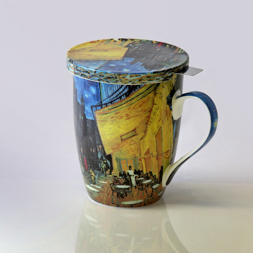 Van Gogh Cafe Terrace at Night Tea Mug W/Infuser and Lid
