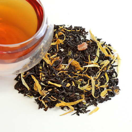 We blend dried peaches, papaya and apricots with a rich flavorful Sri Lankan black tea for this versatile cup that can be served hot or cold. It's especially refreshing on a hot summer afternoon. The aroma will make you think you are in an orchard. This colorful concoction also includes blackberry leaves, calendula and sunflower petals.   Premium black tea, peach, apricot, papaya, blackberry and lime leaves, calendula and sunflower petal. Sri Lanka