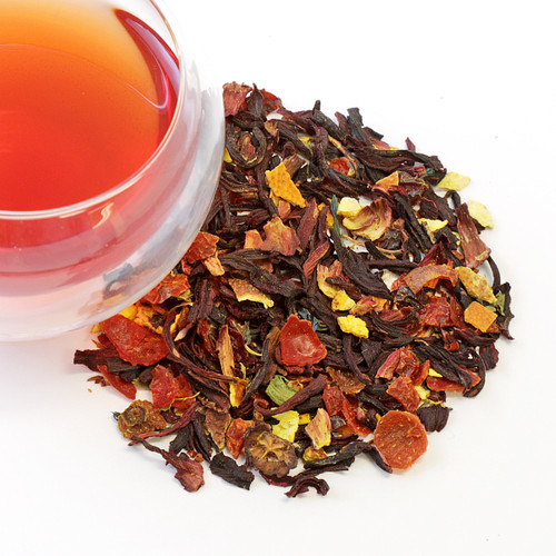 Organic turmeric Zest Organic hibiscus, organic rooibos, organic turmeric, organic orange peel, organic rosehips, blue corn flower, Nat blood orange and orange, vanilla, and lemon flavor.