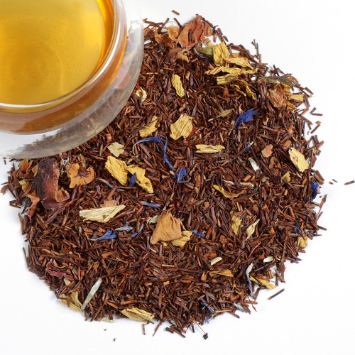 Delicate caffeine free mixture based on Rooibos (92%), adorned with flower pedals of Sunflower, Rose and Cornflowers. Awaken your senses with this aromatic rooibos blend, that when brewed has a delightful floral scent and flavor. Each cup of this tea is brimming with healthful properties.