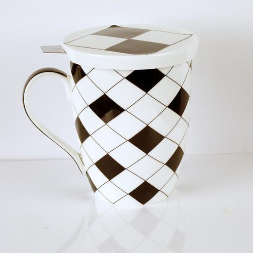Criss Cross Tea Mug w/ Infuser and Lid