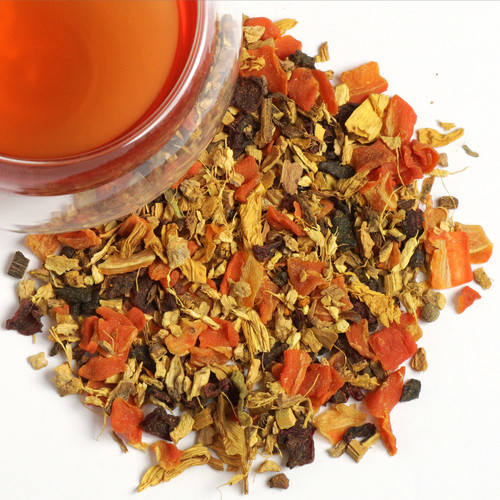 An organic herbal infusion of carrot, ginger, beetroot, curcuma root, sunflower petals, licorice root, roasted chicory root, galangal roots and black pepper. The trio of ginger,  curcuma and galangal root provides the slight pungency, while the carrot counters with a wonderful, mild sweetness. Our rejuvenating roots blend is ideal as a pick me up or as a flu fighter.  Ingredients: carrot, ginger, licorice root, chicory root roasted, beetroot, curcuma root, sunflower petals, galangal root, flavorings.