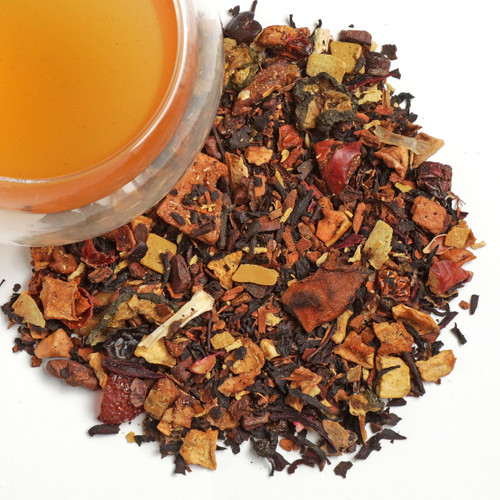 Enjoy the Fall season anytime with the wonderful flavors of our Oolong Pumpkin Chai. We have blended the essence of autumn into to a tea that is spicy & sweet. A rich mixture of healthy Oolong tea, honey, chocolate, cinnamon flavored spices with carrot, almonds, coconut and white chocolate pieces!  It is a dieter's delight thanks to the healthy fat-burning properties of Oolong tea.  Ingredients:   Honey, Chocolate and Cinnamon Flavored Blend of Spices, Oolong Tea, Carrot, Almonds, Coconut and White Chocolate Pieces – Ingredients: Oolong tea (17 %), cinnamon, cocoa beans, carrot (11 %), almonds (7 %), cardamom pods, carob fruit, star anise, white chocolate pieces (sugar, cocoa butter, whole milk powder, emulsifier: sunflower lecithin) (4 %), flavorings,coconut pieces (3 %), coconut chips (3 %), cloves  1 tsp per cup steep at 212 for 5 minutes.