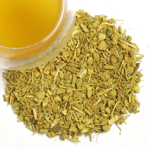 Our Organic Turmeric Ginger Spice tea is an exciting chai variety that manages without black tea. Enjoy how the sweet-piquant spices dance over the tongue with lemony notes and green matcha. Enjoy the wonderful health benefits of this tea: Lowers cholesterol, and the anti-inflammatory properties of ginger and turmeric soothe muscles as well as tissues. Also our Organic Turmeric Ginger Spice is a great tea for weight loss.   Ingredients: ginger*, licorice root* (19 %), turmeric* (15 %), lemongrass*, Japan green tea Matcha* (4.5 %), flavorings, orange peel*, lemon peel* (* Ingredients from organic production) Contains licorice - people suffering from hypertension should avoid excessive consumption  1 tsp per cup steep at 180 -195  for 4-5 minutes.