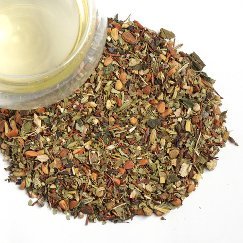Our Organic Detox MR tea blend is a delicious and cleansing combination The best of the herb garden mixed with sweet and lemony ingredients topped with spirulina.  A combination of rose hip seeds, green mate, ginger, rooibos, fennel, spearmint, licorice root, cinnamon, hibiscus, nettle leaves, camomile seeds, dandelion root & spirulina making an all natural blend of herbs to help purify and support your body.  2 tsp per cup steep at 212 for 5-8 minutes