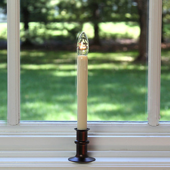 Cordless LED Window Candle with Bronze Finish Adjustable-Height