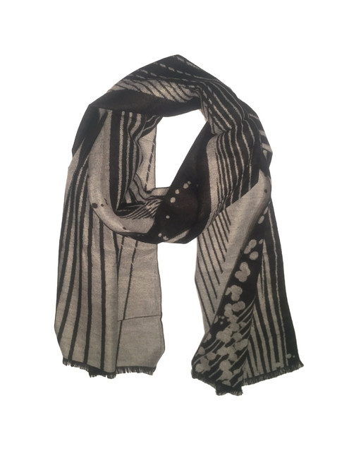 100% Bamboo Fleece Scarf Black & White Pattern