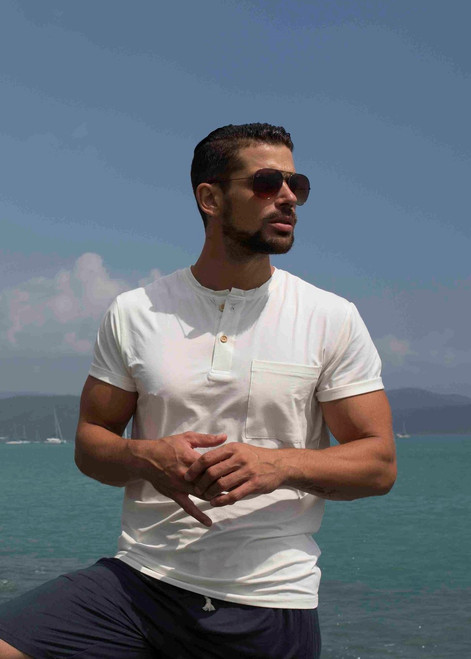 mens henley in Natural