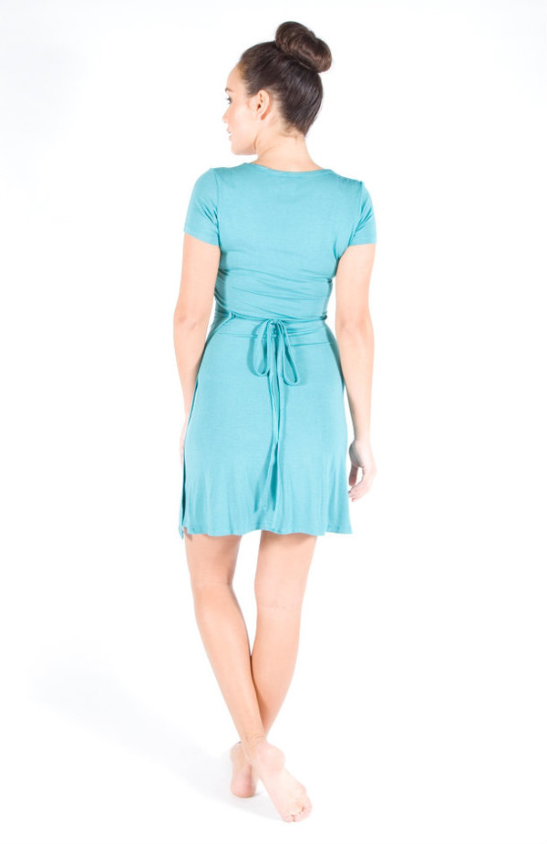 Teal Bamboo Wrap Dress - Back