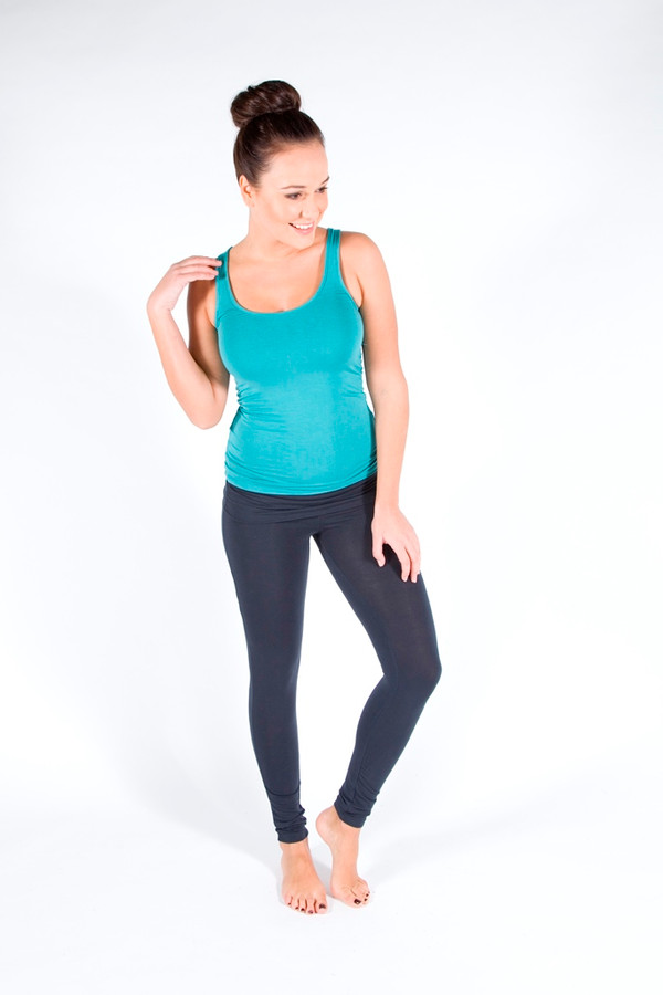 Scoop Neck Bamboo Tank. Colour:Teal