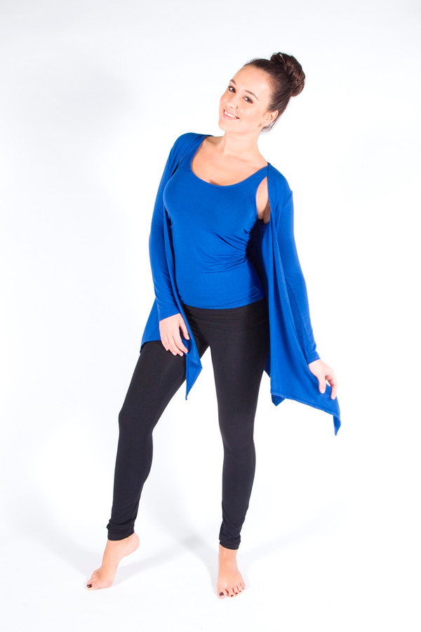 Full Length Leggings. Colour Pictured: Black With Tank and Cardigan