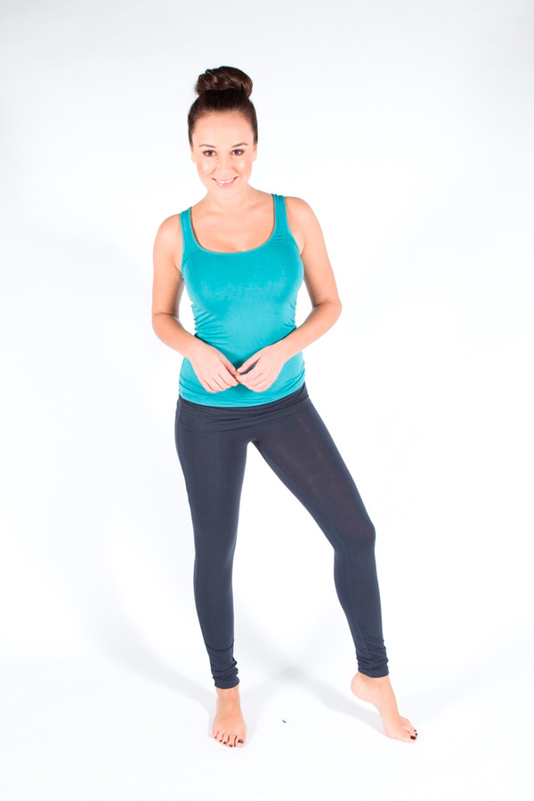 Full Length Leggings. Colour Pictured: Charcoal With tank