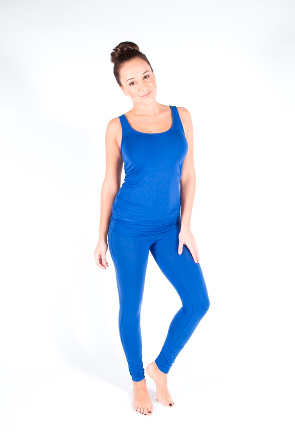 Full Length Leggings. Colour Pictured: Bllue with Tank
