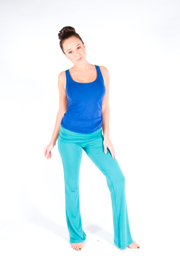 Pictured: Teal pants and Blue tank.
