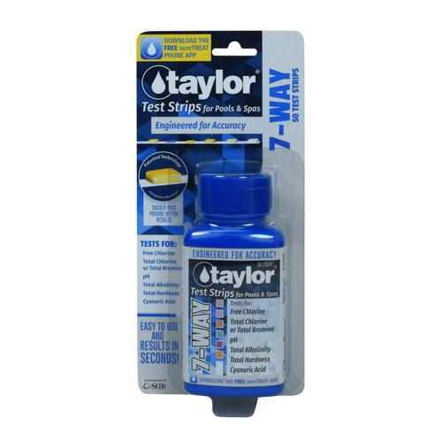 Taylor Test Strips 7-Way Free Chl Tot Chl/Br pH Alk Cal CYA - 50ct