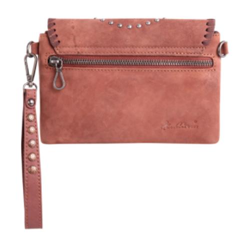 Montana West Leather Concho Crossbody/Wristlet