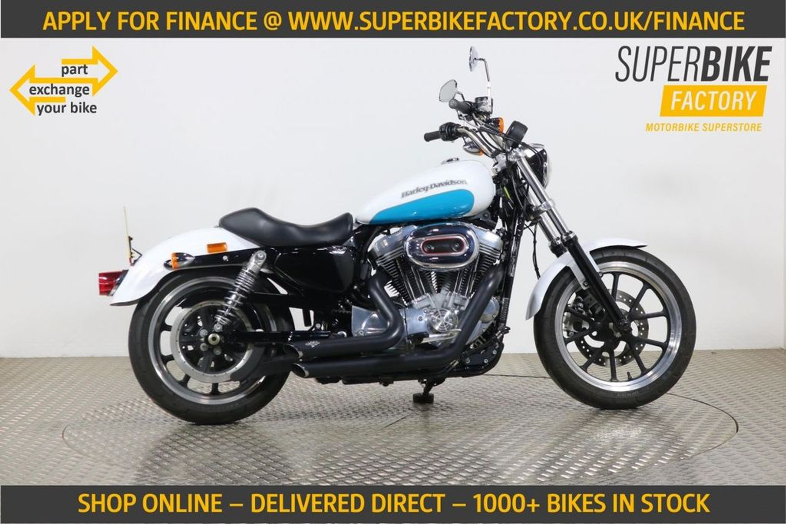 2017 Harley Davidson Sportster Xl 883 L Superlow Blue With 2527 Miles Used Motorbikes Dealer Macclesfield Cheshire The Superbike Factory