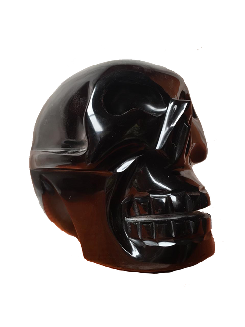 Black Obsidian Skull from Teotihuacan handcrafted in Mexico and sent to your door. Free Shipping