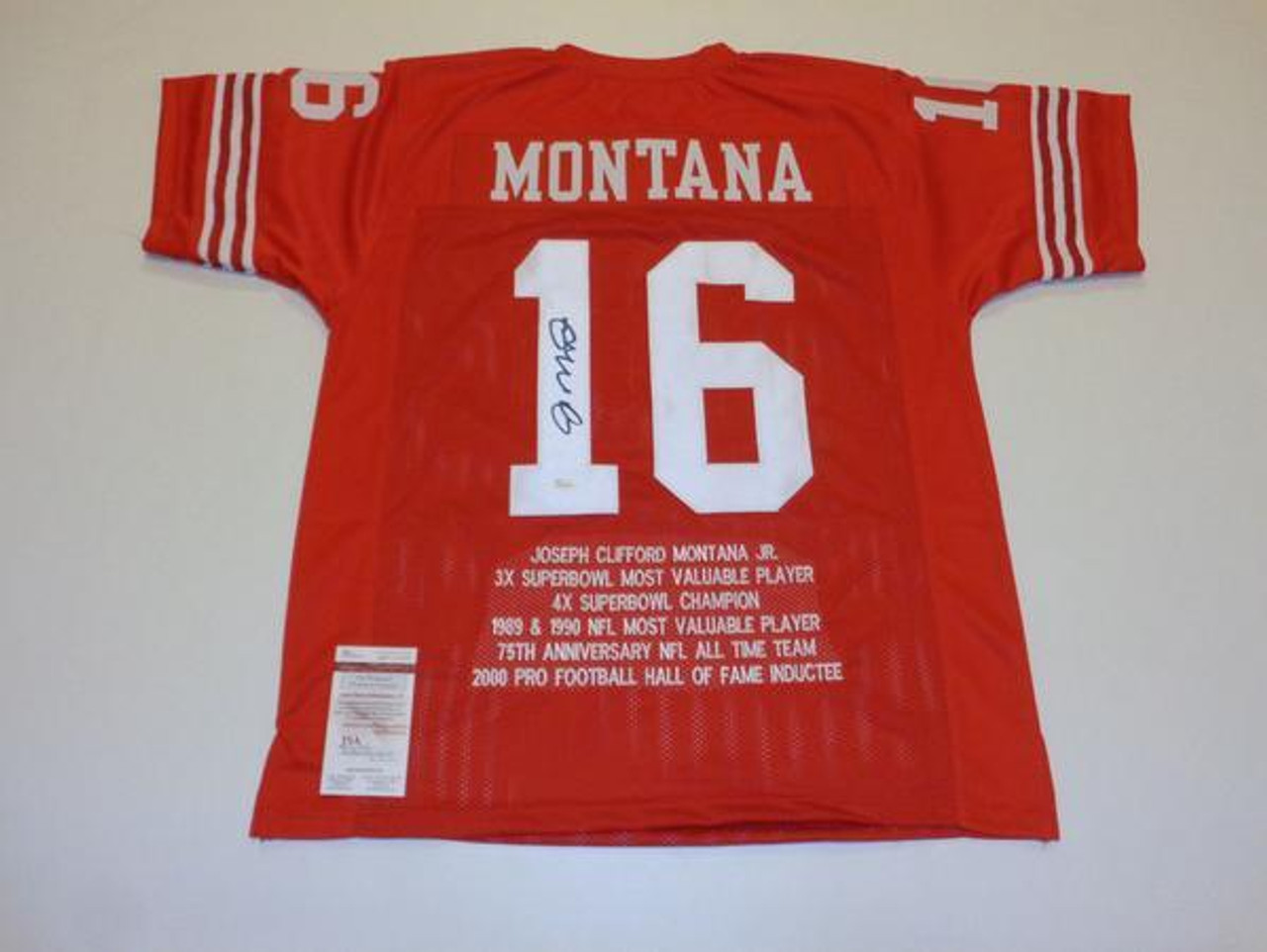 huge selection of 35e28 f7c8e Joe Montana San Francisco 49ers Autographed NFL Career Stats Football Jersey