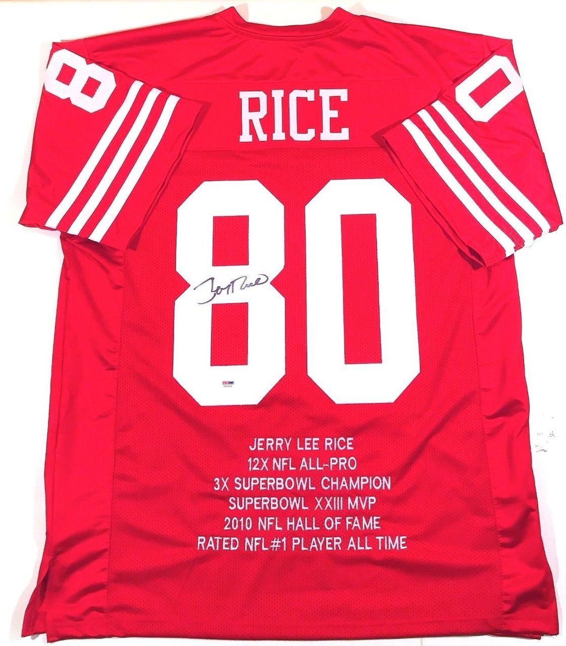 buy online 16dee 09fe1 Jerry Rice San Francisco 49ers Autographed Custom Career Stats Football  Jersey