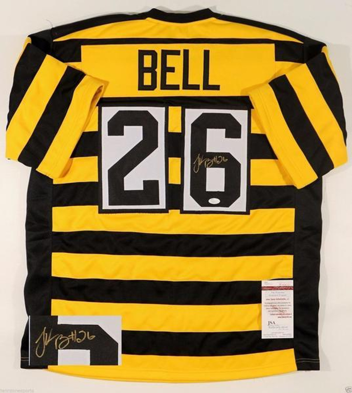 timeless design 02ec4 d2e67 Le'Veon Bell Pittsburgh Steelers Autographed Throwback Bumblebee Custom  Football Jersey