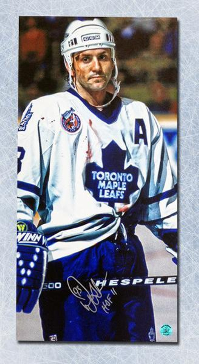 new arrival 12bc3 ba7c4 Doug Gilmour Toronto Maple Leafs Autographed Bloody Warrior 14x28 Canvas