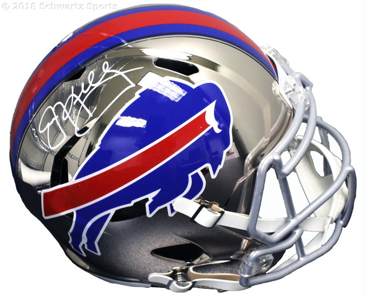 04546d19310 Jim Kelly Buffalo Bills Autographed Chrome Replica Football Helmet ...